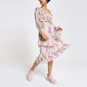 RIVER ISLAND Purple floral frill maxi dress 14
